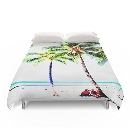 Society6 Vintage Palm Tree With Hawaii Summer Sea Beach Duvet Covers King: 104'' x 88'' by Society6