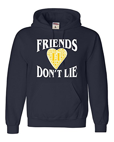 (Go All Out Small Navy Blue Adult Friends Don't Lie Waffle Heart 11 Sweatshirt Hoodie)