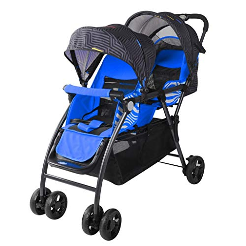 JIAX Tandem Stroller,Best Double Stroller – Everyday Twin Stroller with Umbrella,Lightweight One-Hand Compact Fold,Compact and Easy to Maneuvers Everyday Compact Travel Stroller (Color : Blue)