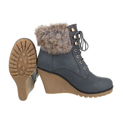 Women's Boots Wedge Heel Wedge Ankle Boots at Ital-Design Grey JmhWPs