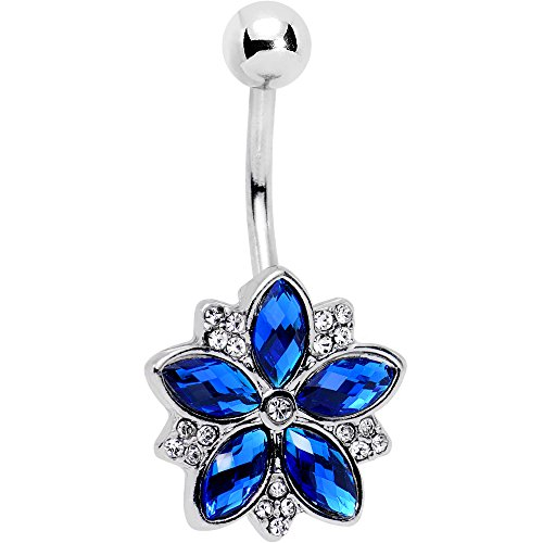 Body Candy Steel Blue Accent Sparkling Snow Flower Charm Belly Button Ring