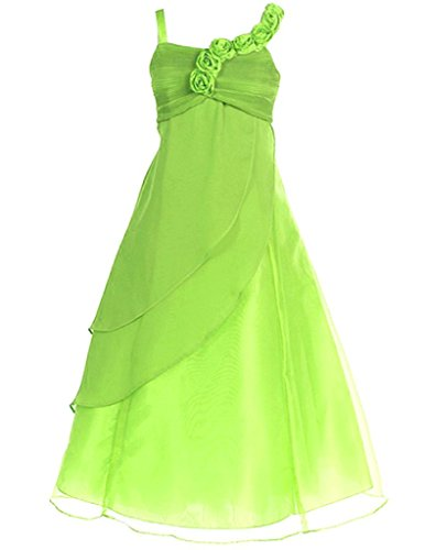 FAIRY COUPLE Big Girl's A-line Straps Chiffon Flower Girl Dress for Wedding K0034 10 Apple Green (Green Fairy Dress)
