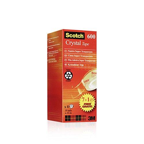 4 opinioni per 3M 94074 Scotch Crystal Clear Nastro Adesivo Trasparente, 19 mm x 33 mm, 8 Pezzi