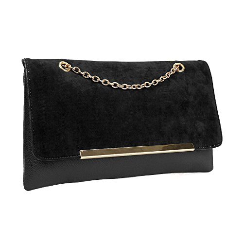 Black Leather Bag Gold Chain - 9