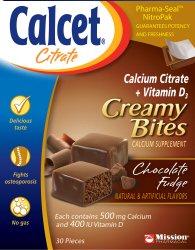 Calcet Fondant au chocolat crémeux de citrate de calcium Bite 500 mg