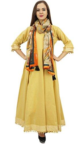 Beige Anarkali Svasato Bimba Classico Pompon Con Vestito Cotone Kurta Sciarpa wAwOq1vx
