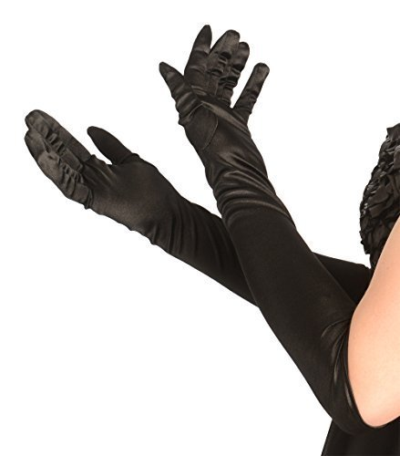 Kangaroo's One Size Elbow Length Black Opera Satin Gloves, Flapper -