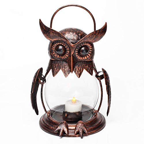 Vintage Owl Tealight Holder, Hanging Lantern for Outdoor & Indoor Party Décor, Owl Lover, Christmas Gift, Red Bronze (Tealight Included)