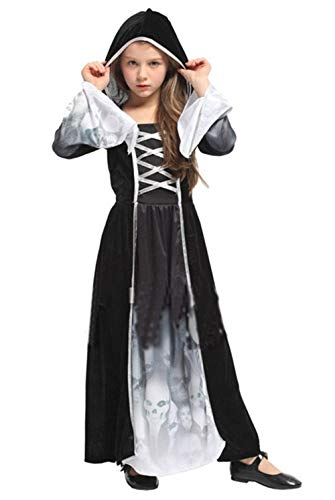 Seipe Girls Halloween Evil Nun Costumes Skull Printed Cosplay Outfits Demon Dress