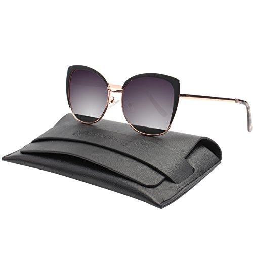 Jewelry Drivers Polarized (VIVIENFANG Semi-Rimless Oversized Cat Eye Sunglasses Women's Polarized Shades 86447B Black)
