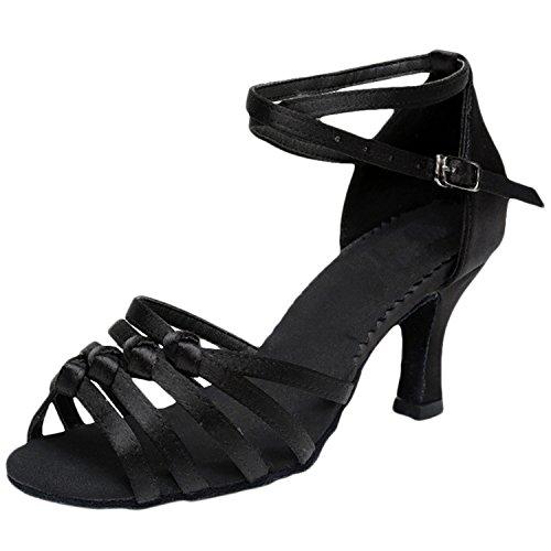 Azbro Mujer Zapato de Baile Fiesta Correa Cruzada Puntera Abierta Negro