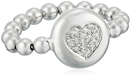 Sterling Silver White Diamond Accent Stretch Bead Heart Ring, Size 4-7 (Sterling Silver Stretch Ring)