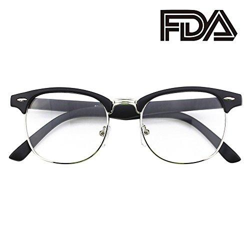 (Happy Store CN56 Vintage Inspired Classic Horn Rimmed Half Frame Nerd UV400 Clear Lens Glasses,Matte Black)