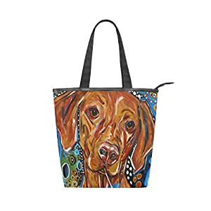 COOSUN Painting Dog Canvas Tote Bag Zippered Shoulder Bag Purse Women Girls Handbag Tote for Shopping, School, Outdoor, Picnic