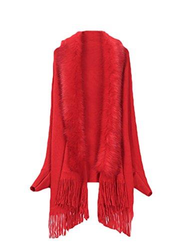 NiSeng Mujer corto Capas de punto con decoración de la borla ponchos de piel sintetica Rojo