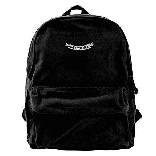 Super Star Nobodys Perfect Canvas Shoulder Backpack Limited Edition Premium Funny Chrismats School Backpack for Men & Women Teens College Travel Daypack Black