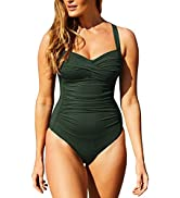 Sovoyontee Women's Ruched Twist-Front Sweetheart 1 Piece Swimsuit Bathing Suits