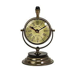 CC Home Furnishings Elegant Antique Style Brass Pedestal Desk Clock 7