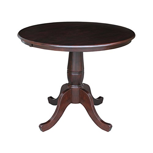 International Concepts 36-Inch Round by 30-Inch High Top Ped Table, Rich Mocha