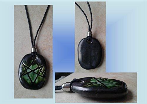 Men's Aquarian Star Necklace Pewter Green Unicursal Hexagram Pendant Seal of Orichalcos ()