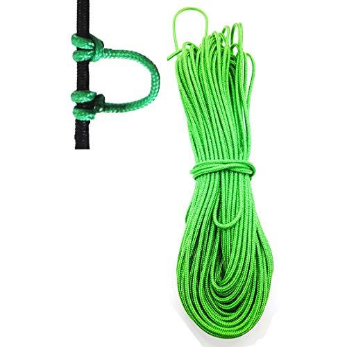 12 Feet Cir-Cut Archery D Loop Rope Bowstring Release D Nocking Durable Wire U Nok Ring Nocking Loop Buckle, 2.4mm 0.09in(Green)