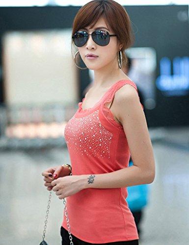 Femme Noir Debardeur Diamant Bestgift Artificielle Zw7xI8