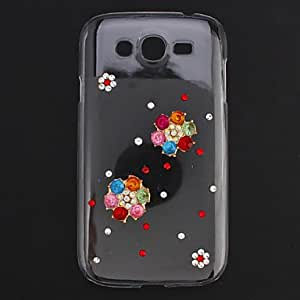 hao Colorful Zircon 6 Petals Flower Transparent Jewelry Back Case for Samsung Galaxy Grand I9082