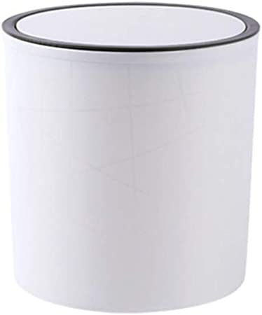VLERHH Cubo De Basura,Papelera Tipo Bala De Plástico Bote De Basura Hogar Cocina Sala De Estar Oficina con Tapa Caja De Reciclaje,Contenedor De Compost Contenedor De Basura (10L),SmallWhite: Amazon.es: Hogar