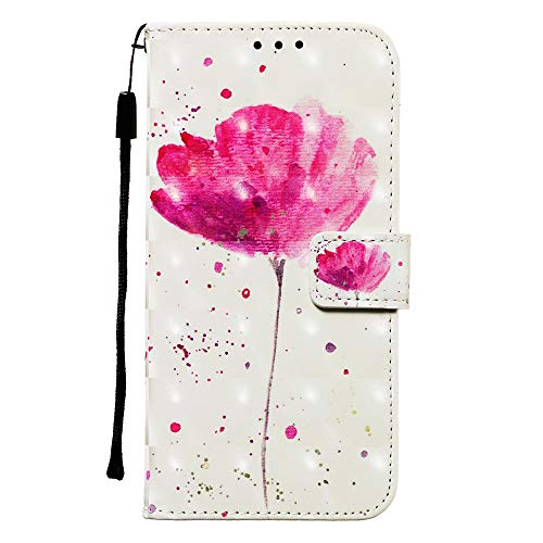 Simple Flip Case Fit for iPhone XR Flower Leather Cover Wallet for iPhone XR