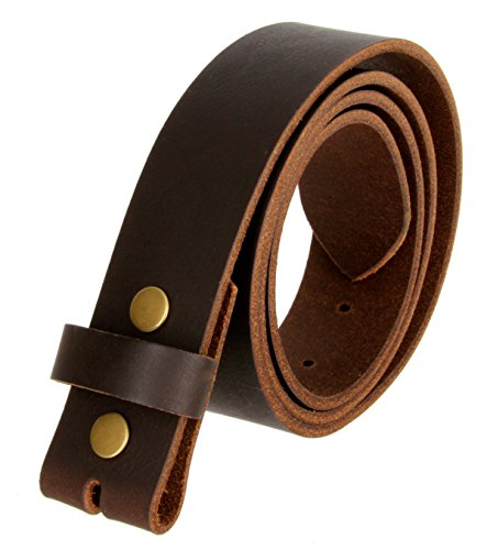 100% Solid Cowhide Leather Belt Strap (Brown, 42)