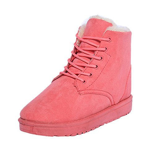 Dooxi Womens Winter Warm Snow Boot Lace Up Walking Shoes Non-slip Ankle Martin Boots Red c3unjzZ