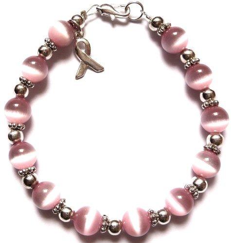 - Prepackaged (7 3/4 in.) BREAST Cancer Awareness Bracelet, 8mm