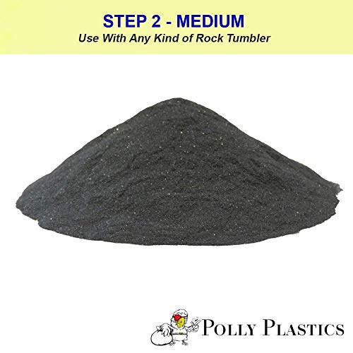 Polly Plastics Rock Tumbler Media Grit Refill, 2 lb Medium 180/220 Silicone Carbide Grit, Stage 2 for Tumbling Stones (2 Pack) by Polly Plastics (Image #1)