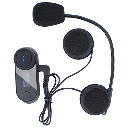 Motorcycle Helmet Bluetooth Intercom Kit, Motorbike Helmet Intercom Interphone Headset, for 2 or 3 riders, LCD Screen/FM Radio/Mobile phone/MP3/GPS connective/Range 800m / Handsfree (1 Pack)