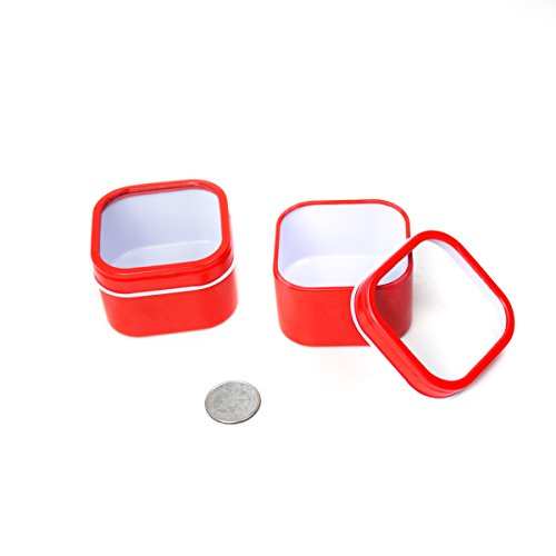 Mimi Pack 4 oz Square Cube Tin Cans With Clear Window Slip Cover Lid for Favors, Spices, Storage, Candies, Mints, Candles and Crafts (24, Red) ()