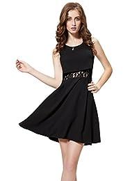 Vimans Women's 2016 Elegant Short Black Scoop Lace Chiffon Formal Party Gowns