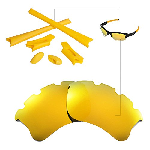 Walleva Polarized 24K Gold Vented Lenses+Yellow Rubber kit For Oakley Flak Jacket XLJ