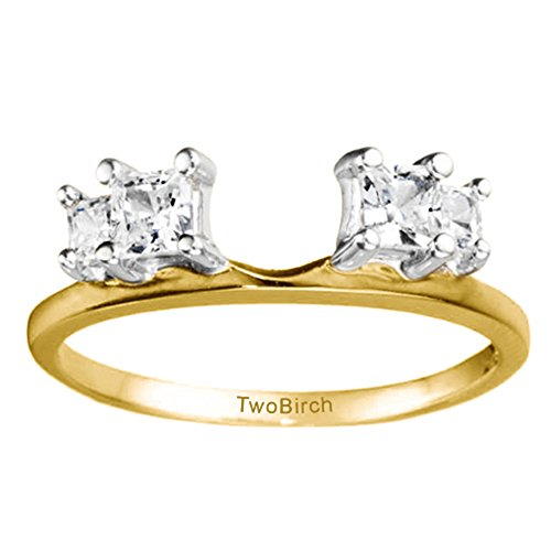 Solitaire Ring Wrap Enhancer set in Multi-Tone Gold set with CZ(0.38Ct) Size 3 To 15 in 1/4 Size Interval by TwoBirch