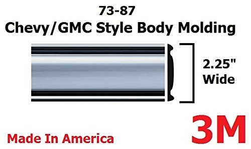 (1973-1987 Chevy GMC Chrome Side Body Trim Molding Full Size Pickup Truck - 2.25