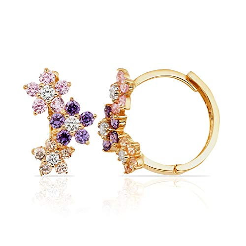 Pink Violet and White CZ Flower Huggie Hoop Earrings in 14K Yellow Gold