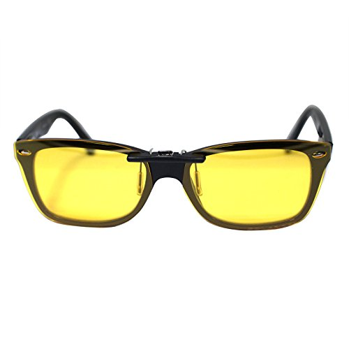 Custom Polarized Clip on Sunglasses For Ray-Ban RB5228 RX5228 Yellow-Night - On Clip Rb5228