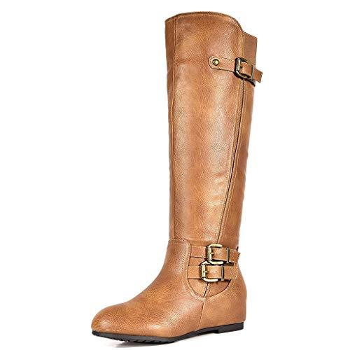 DREAM PAIRS Women's Franca Camel Knee High Hidden Wedges Winter Riding Boots Wide Calf Size 11 M US