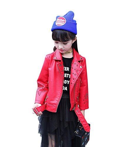 acd310fc1 Girls Leather Jacket Kids Boys Motorcycle Outwear Biker Windbreaker Twins  Dream