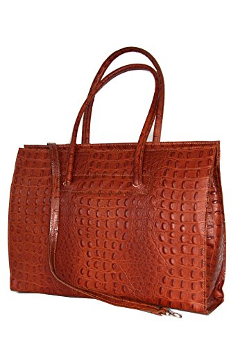 Ladies Cuir Portable croco Business Caramel Mod 40 2026 13 P Italie Avec Sac documents 28 Porte Bandoulière drgrqw