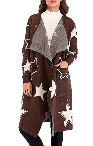 Stampate Giovane Anaisy Giaccone Coat Fashion Autunno Manica Casuale Cardigan Donna Sciolto Lunga Eleganti Primaverile Coffee Cappotto Outerwear Stella Women 4r868Haqz