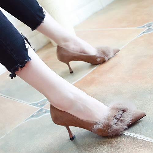 Yukun Schuhe mit hohen Absätzen Herbst Nude Light Mund Mund Mund Wies High Heel Sandaletten Stiletto Girl Lackleder Schuhe Katze Mit Nieten Einzelne Schuhe 38 Schwarz 155062