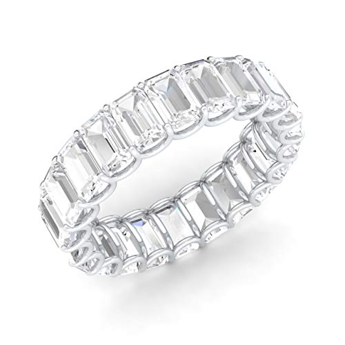 Diamondere Natural and Certified White Topaz Wedding Ring in 14K White Gold | 7.72 Carat Emerald Cut Full Eternity Stackable Band Size 5