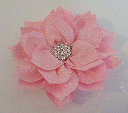Rhinestone Light Pink Poinsettia Flower Bow Dog Collar Accessory ()