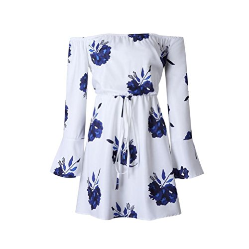 Dresses Junior Spring (Neartime Womens Dress, Off Shoulder Floral Beach Beautiful Evening Party Short Dress (S, Blue Print))
