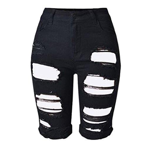 Courte Noir Pantalon Youthny Taille Et Trou Haute Femme w4WSqOxXzO
